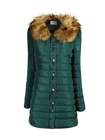 Women Raccoon Fur Collar Long Thick Padded Cotton Jacket Coat